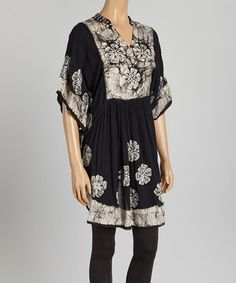 This Aqua Blue Black Floral Cape-Sleeve Dress by Aqua Blue is perfect! #zulilyfinds