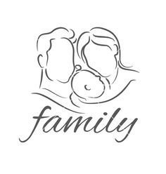 Mother with baby linear silhouette vector