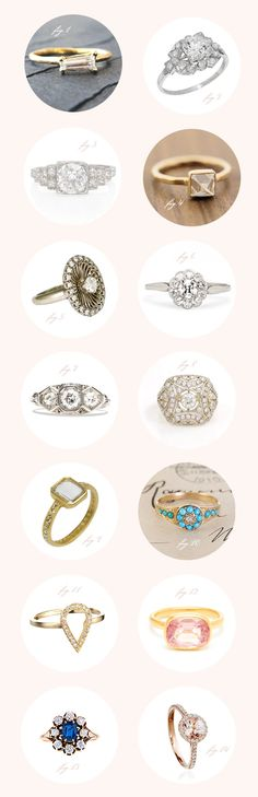 Unique engagement rings | Read more - http://www.100layercake.com/blog/2013/12/18/unique-engagement-rings/
