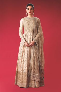 Beige Raw Silk Floor Length Anarkali