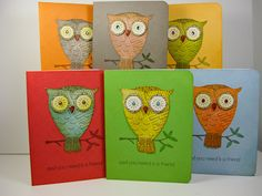 Big Eyes owl--paper pieced beak, envelope pattern in background, eyes paperpieced and bling added