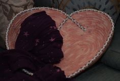 DISCOUNTED PRICE Fabric Rope Coiled Basket: Pink Flannel Cross My Heart - MEDIUM by HandMadeBySandraM on Etsy