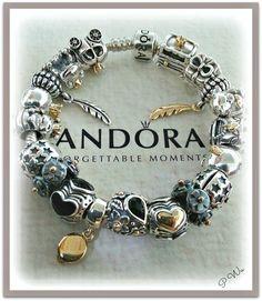 PANDORA Bracelet with Oxidized Two Tone Charms :-)
