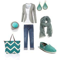 gray & turquoise.