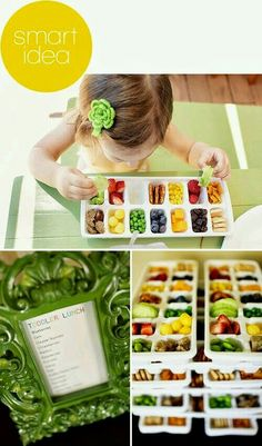 Toddler finger food lunch buffet. Great way to see what foods your little one likes.  G;)