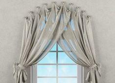 Curtains For Arched Windows, Home Curtains, Elegant Curtains, Beautiful Curtains, Curtain Styles, Curtain Designs, Arched Window Treatments, Rideaux Design, Ideas Hogar