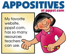 Appositives - FREE Presentations in PowerPoint format, Free Interactives and Games  (A must for reading comprehension)