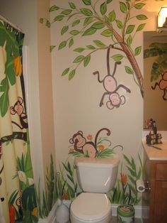 I've been thinking about redecorating C's bathroom in monkeys. If I do it, I will have to get my mother-in-law over to paint the walls like this. Too cute!