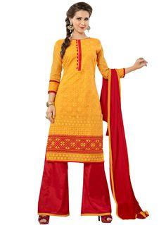 Yellow Chanderi Palazzo Style Suit 83468