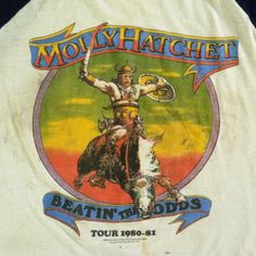 Vintage Molly Hatchet rock concert tour t-shirt. Reminds me of my dad's old records. Concert Tees, Rock Concert, 80s Tshirts, Vintage Rock T Shirts, Molly Hatchet, Old Records, Rock Videos, Tour T Shirts, Vintage Music