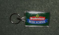 BUDWEISER BEER Key Ring Keychain BEER SCHOOL & BEERMASTER Logos, Good Shape!
