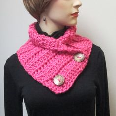 Holiday Sale, Rosy Pink Neckwarmer, Button Wrap Scarf, Button Wrap Cowl, Fall Womans Scarves, Large Cowl, Womans Knit Scarf, Fabiana B2-023 by CeciliaAnnDesigns on Etsy