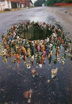 """Saatchi Online Artist: Nestow Sakaczbia; Paper, Assemblage / Collage """"holy storm drain"""""""