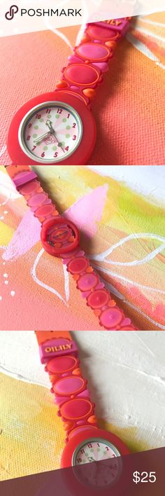 Vintage Oilily Watch Cute pink and orange rubber watch from Oilily. Great condition. Needs a battery. Oilily Accessories Watches