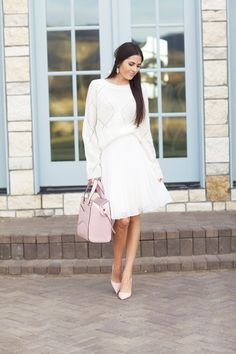 White #knitted #sweater, plated skirt, coral bag, heels. Fall autumn women fashion @roressclothes closet ideas knitwear
