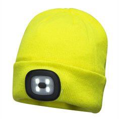 Gorro Beanie con luz LED recargable Amarillo.