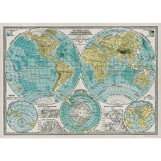 Two hemisphere world map from the 1930s. Ready for framing. $4.99