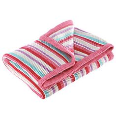 Knitted Pram Blanket - Pink Stripes