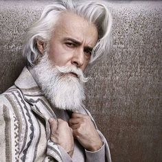 40 Men Hairstyles for Gray & Silver Hair Men Hairstyles World Silver Hair Men, Men With Grey Hair, White Hair Men, Beard Styles For Men, Hair And Beard Styles, Hair Styles, Hipster Haircuts For Men, Viking Beard, Grey Beards