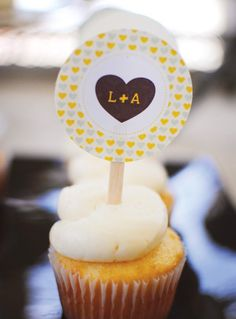 Rustic couples shower cupcake-topper