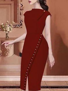 Beading Embellished Slit Irregular Midi Dress - Work Dresses - Ideas of Work Dresses - Beading Embellished Slit Irregular Midi Dress Classy Dress, Classy Outfits, Chic Outfits, Dress Outfits, Fashion Outfits, Fashion Hacks, Midi Dresses, Dress Fashion, African Fashion Dresses