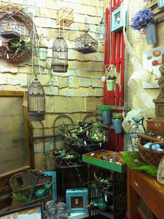 """June Display by our shop """"Somewhere In Time"""" by Jeanie Hall. Perfect place to celebrate our feathered friends! Visit Old Town Village Antiques & Uniques"""