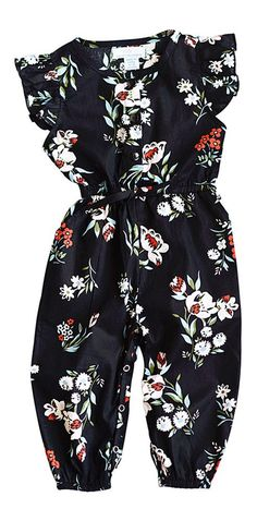 This stunning jumpsuit romper is adorned with darling flutter sleeves, long pants and button front accents. With two side slant pockets and snaps at the *bottom