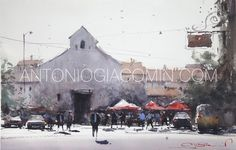 Impressionist, Painting & Drawing, Watercolor Art, Concept Art, Street View, Sketches, Urban, Drawings, Watercolors
