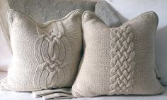 knit pillows for a winter bedroom
