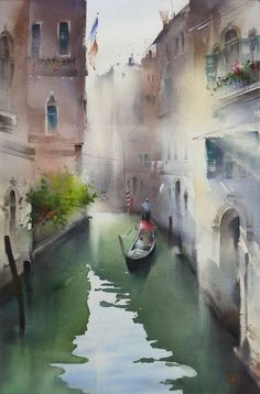 Ilya Ibryaev - Morning - By the canals of Venice - watercolor 35x53 cm