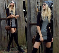 Get this look: http://lb.nu/look/7884798  More looks by Eva V: http://lb.nu/eviv  Items in this look:  Vintage Bag, Beanie, H&M Overtheknee Socks, Boots, Dress, Eve Wild Earrings, Romwe Sunglasses   #edgy #grunge #street