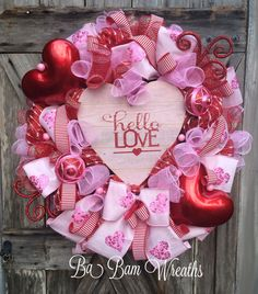Valentine Wreath Valentine Decor Valentine Door by BaBamWreaths