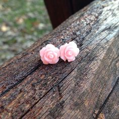 Would be great for flower girls or bridesmaids! Available on Etsy. Pink Earrings, Flower Earrings, Stud Earrings, Pink Roses, Pink Flowers, Bride Flowers, Light Pink Rose, Unique Jewelry, Handmade Jewelry