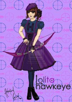 "A mestre suprema do arco e flecha, com uma mira excepcional,    Clementine ""Cleo""    Hawkeye Lolita    *(Casual Lolita Style)"
