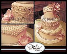 The love for pearls & lace!    Royal Cakes-  RoyalCakesLA.com