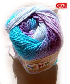 Pure Cotton Baby Yarn: Light Weight, Alize Bella Batik Design in purple and blue. col. 3677 SALE