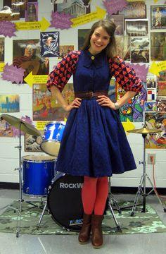 Cassie Stephens: What the Art Teacher Wore Art Teacher Outfits, Teacher Wear, Summer Teacher Outfits, Teacher Clothes, Casual Work Outfits, Curvy Outfits, Work Casual, Cool Outfits, Colored Tights Outfit