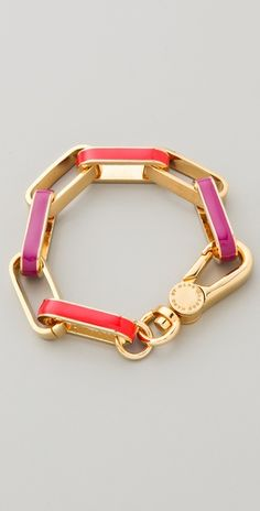 Enamel Turnlock Stripey Link Bracelet by Marc by Marc Jacobs