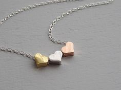 Hearts necklace rose gold rhodium silver gold by sevenstarz, $22.00