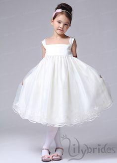 Princess Square Satin Organza Tea Length Flower Girl Dress