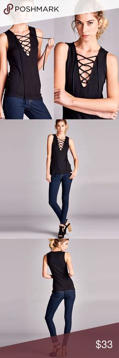 """Tie Up Bohemian Sleeveless Top ❤️ BUNDLES  ❤️ DISCOUNTS ❌ NO TRADES ❌ NO Low balling!  • NWT • • MADE IN USA • • * MEASUREMENTS: - Small - Length: 22"""" Approximately • - Medium - Length: 23"""" Approximately • - Large - Length: 24"""" Approximately • *MATERIAL: - 93% Rayon - 7% Spandex Tops"""