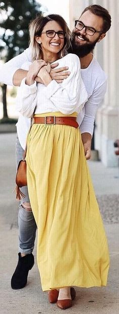 White Top + Yellow Maxi Skirt