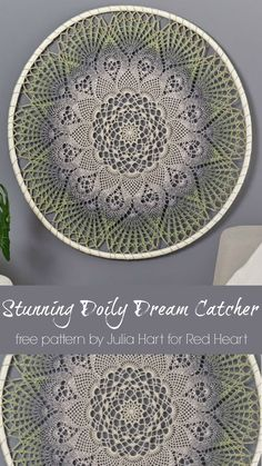Stunning Doily Dream Catcher - Upgrade your art wall with this gorgeous doily design! just one ball of It's a Wrap Rainbow and you'll be on your way to a uniquely stylish piece of art that celebrates your love of yarn and art. Crochet Mandala Pattern, Crochet Art, Thread Crochet, Crochet Crafts, Crochet Doilies, Crochet Stitches, Crochet Projects, Crochet Patterns, Crochet Coaster