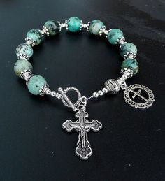 Natural African Turquoise Antique Silver Rosary Prayer Bracelet