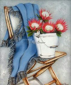 ✿Bouquet & Full Of Flower Basket✿ Stella Bruwer white enamel bucket with 4 red protea blue throw on camp chair Protea Art, Pallet Painting, Love Painting, Stella Art, Stitch Games, Christmas Wooden Signs, Paisley Art, Creation Photo, Chalkboard Art