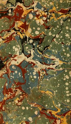 Marbled paper. Green, teal, yellow, red & beige.
