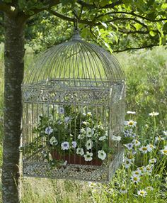 Love this white victorian bird cage w/flowers.  Must pick one up at an auction or flea sale somewhere.