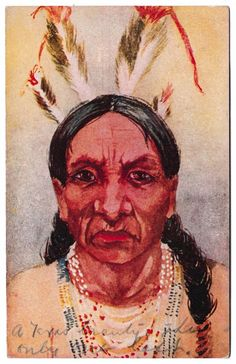 Native American Indian Unsigned Artist Posted 1910 Vintage Postcard