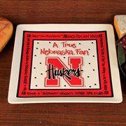 Nebraska Cornhuskers True Fan Ceramic Square Plate #UltimateTailgate #Fanatics