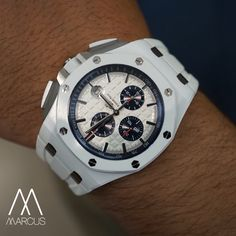 The Audemars Piguet 44mm Royal Oak Offshore white ceramic 'Stormtrooper' on the wrist.
